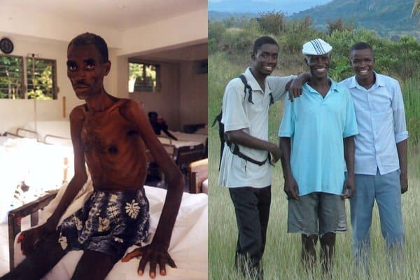 Haitian farmer St. Ker François in 2000 and in 2013.