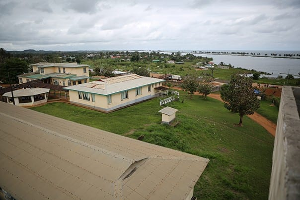 A view of the PIH-supported J.J. Dossen Hospital campus in Maryland County, Liberia.