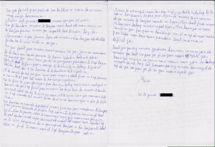 Gisele's letter to Zanmi Lasante
