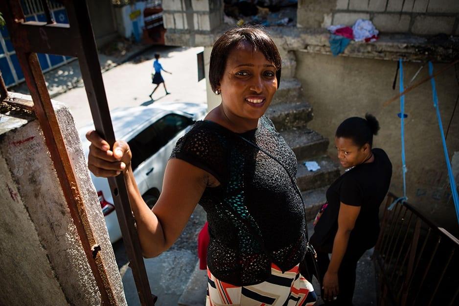 Marana Toussaint stands with Oldine Deshommes, a PIH social worker