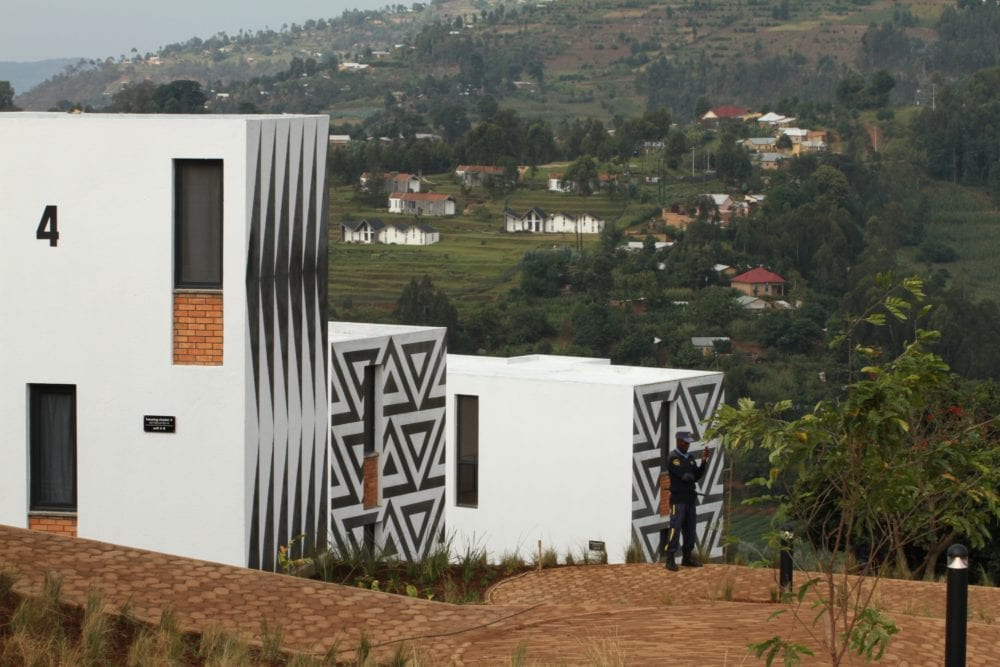 Newly built residences on the UGHE campus overlooking the green hill of Butaro