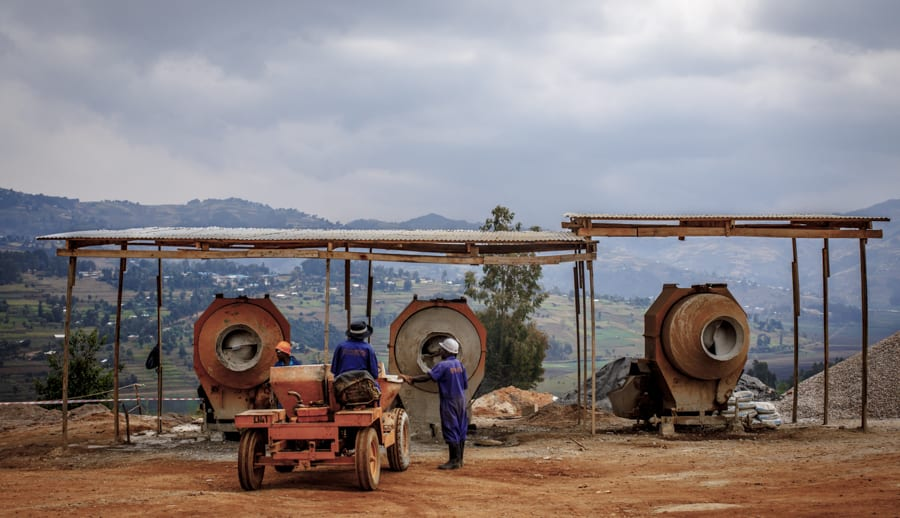 A view of staff and construction equipment overlooking the rolling hills surrounding UGHE