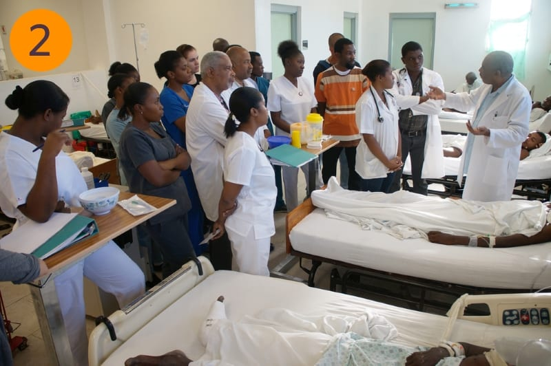 Clinical staff gather to listen as part of a training at the hospital