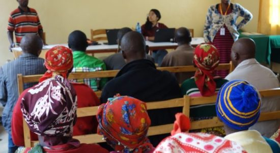 View from the back of a self-help group meeting for mental health patients at Kivuye Health Center