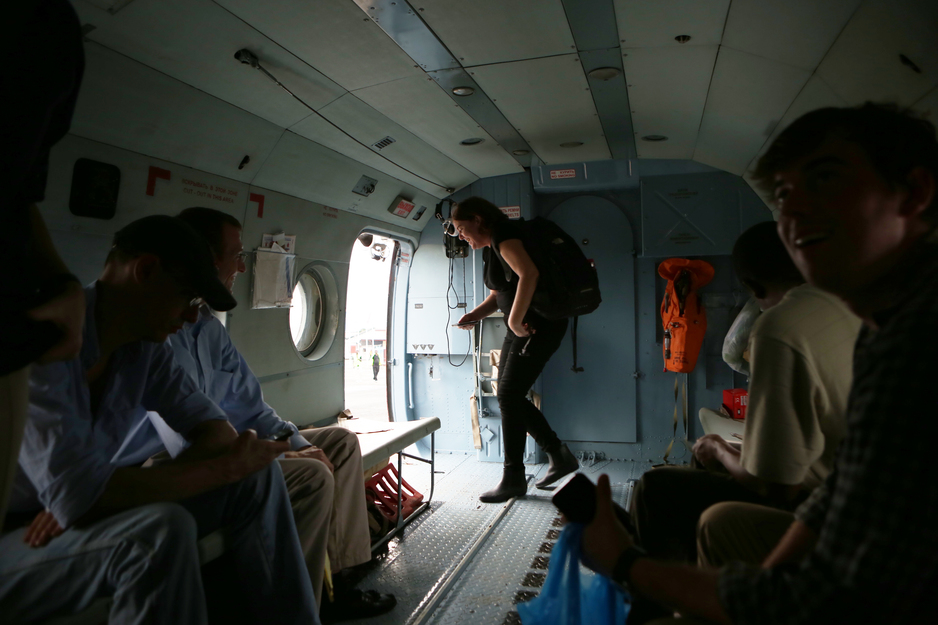 Interior of a UN helicopter as passengers disembark