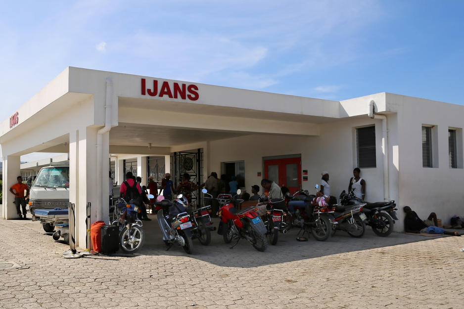 View of the outside entrance to the emergency department at University Hospital in Mirebalais