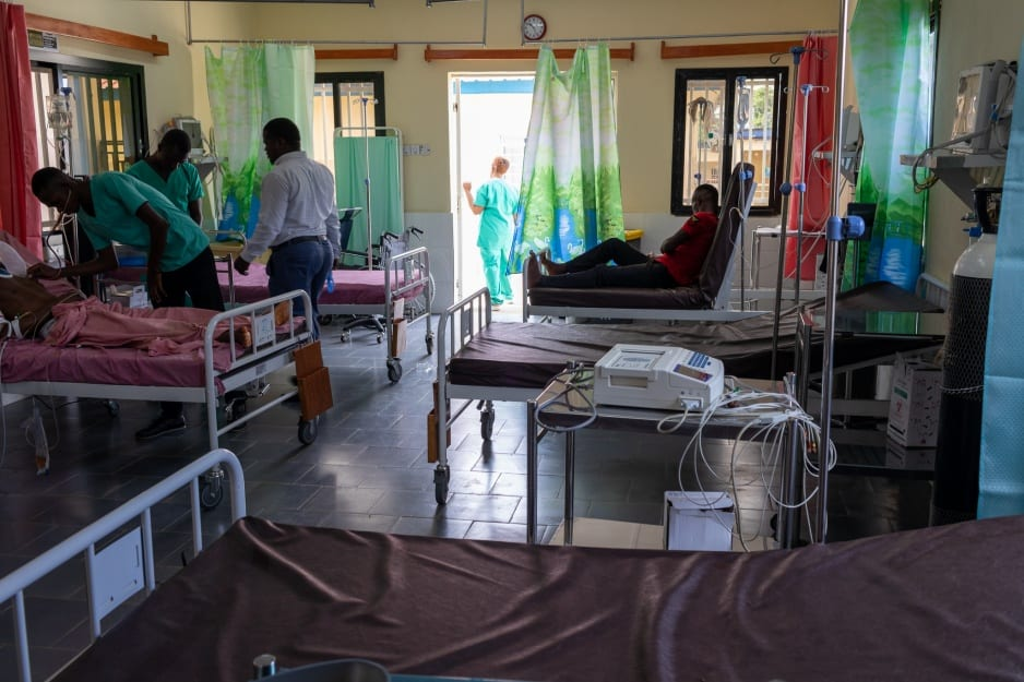 Beds at the new emergency ward in Koidu Government Hospital