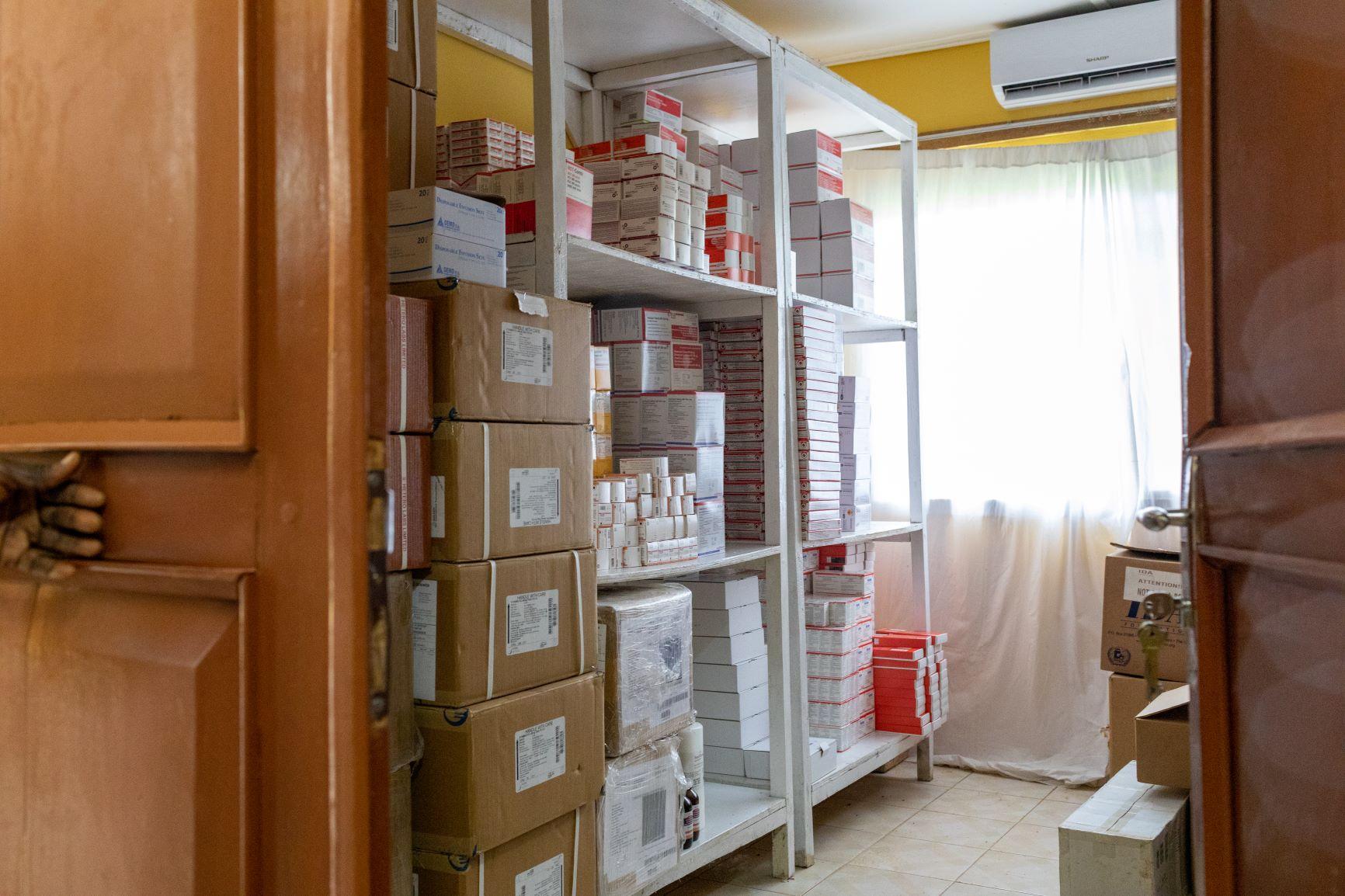 Well stocked shelves at the Lakka Hospital pharmacy