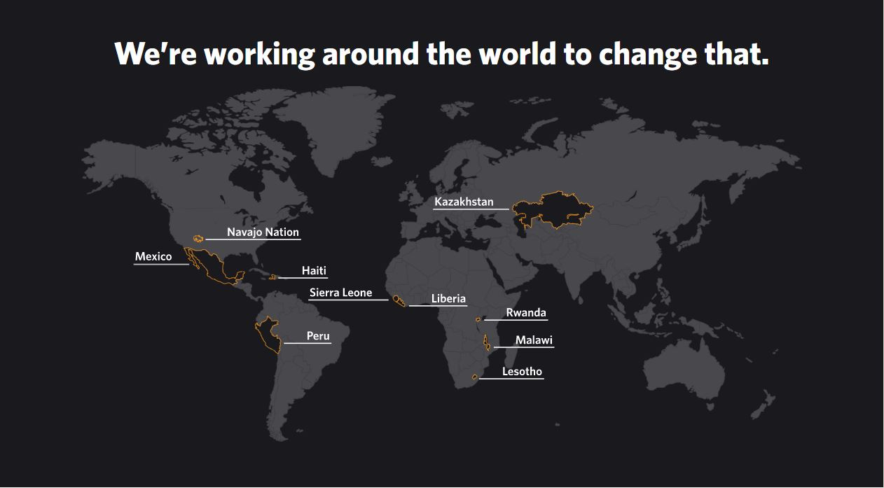 Map of the world highlighting the countries in which PIH works