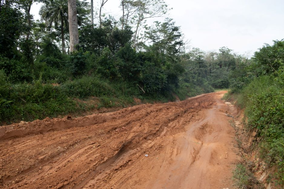 Muddy dirt road the community health team took during community outreach