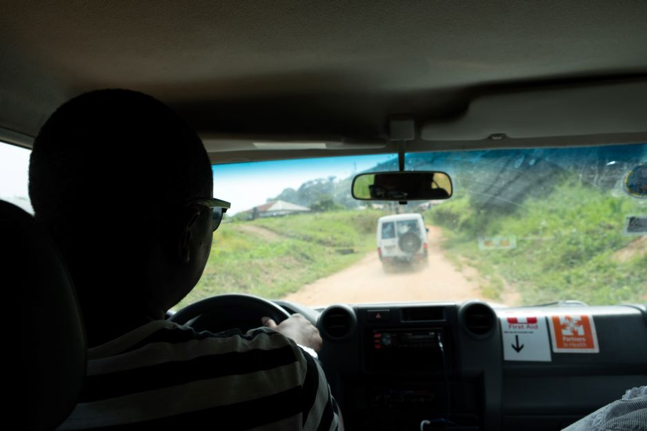 View from inside the PIH vehicle as it drives back to KGH after the community outreach presentation