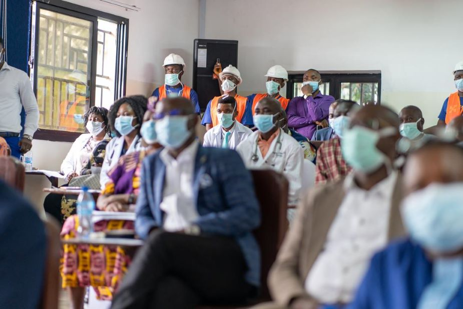 Staff gather in the new lecture hall at the Sierra Leone Psychiatric Teaching Hospital
