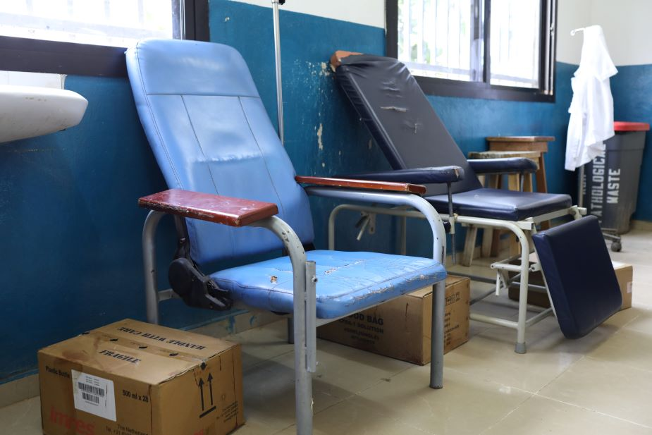 Chairs set out at the blood bank blood donation space