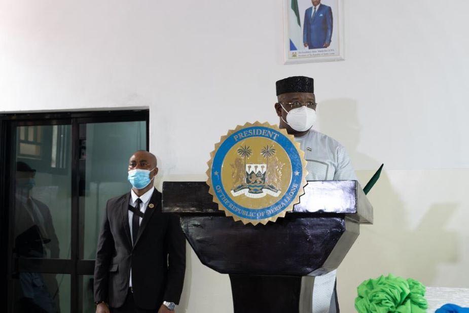 President Julius Maada Bio delivers his speech at the Sierra Leone Psychiatric Teaching Hospital