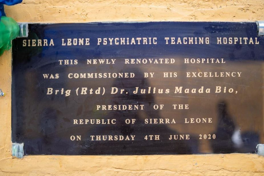 The new plaque marking the renovation of the Sierra Leone Psychiatric Teaching Hospital