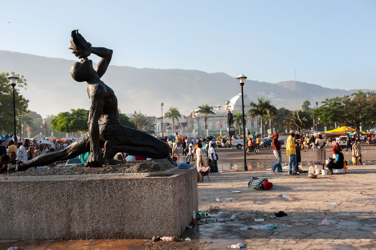 The Neg Mawon statue in Port-au-Prince, Haiti, remained standing after the 2010 earthquake that launched PIH's efforts to support mental health care in Haiti