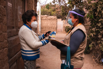 patient in Peru uses a chatbot on a smartphone to conduct a mental health assessment