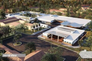 Architectural rendering of an aerial view of the planned Maternal Center of Excellence